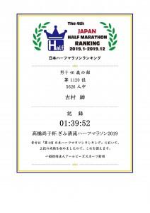 日本ハーフマラソンランキング記録証 - 2019